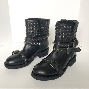 ASH Black Leather Buckle Studded Trooper On Boots